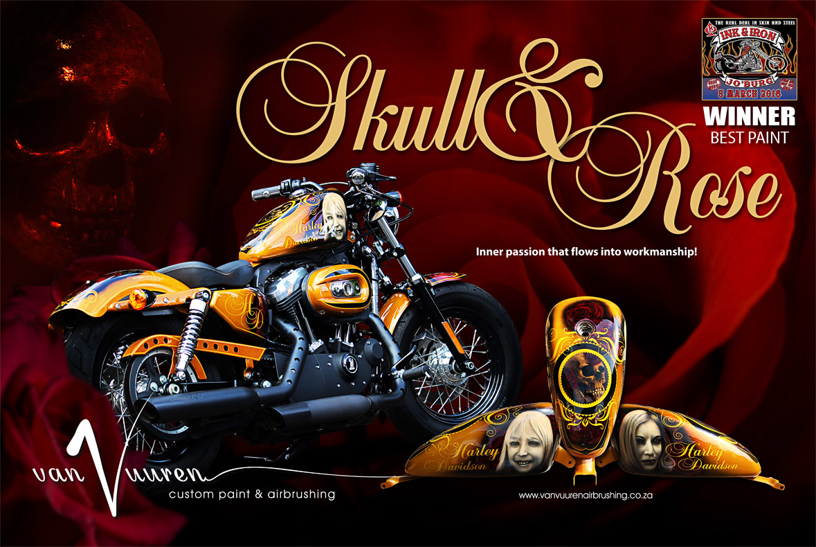 custom painted harley sportster 48 skull rose