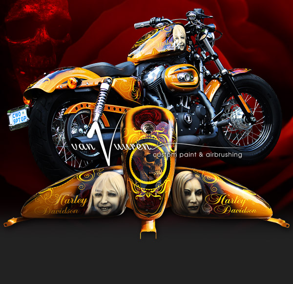 Custom painted and airbrushed Harley Davidson 48 Skull and Rose